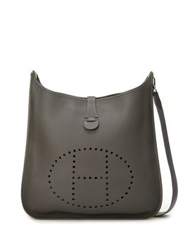 Evelyn Epsom Crossbody Bag, Gray by Hermès