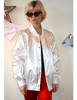 Vintage 80's White Satin Bomber Jacket by Electric Wardrobe
