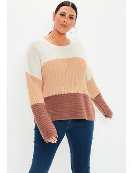 Plus Size Cream Block Stripe Stitch Sweater by Missguided