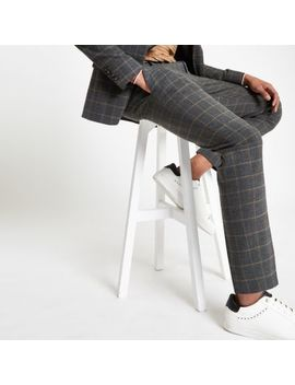 Dark Grey Check Skinny Suit Trousers by River Island