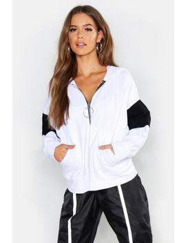 Hooded Colour Block O Ring Zip Through Sweat by Boohoo