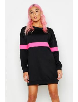 Neon Stripe Sweater Dress by Boohoo