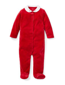 Velour Collar Footie Playsuit, Size 3 9 Months by Ralph Lauren Childrenswear