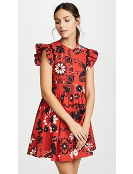Flutter Sleeve Print Dress by Red Valentino