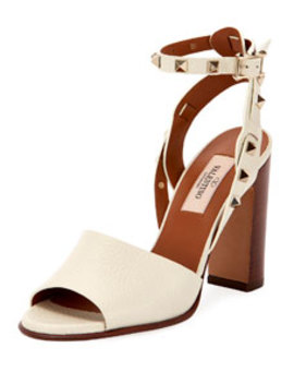 100mm Rockstud Ankle Wrap Sandals by Valentino Garavani