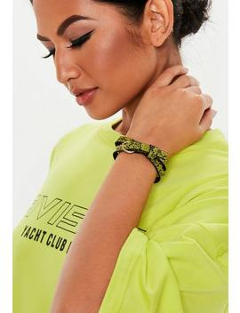 Lime Green Snake Print Wrap Bracelet by Missguided