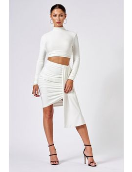 **White Ruched Layered Mini Skirt By Club L by Topshop