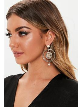 Gold Look Coin Pearl Drop Earrings by Missguided