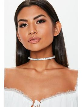 Black White Snake Print Choker by Missguided