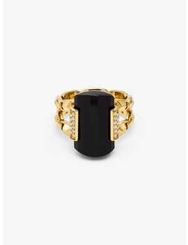 14 K Gold Plated Sterling Silver Onyx Cocktail Ring by Michael Kors