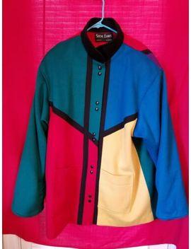 Vintage Steve Evans Women's Color Blocked Wool Coat by Steve Evans