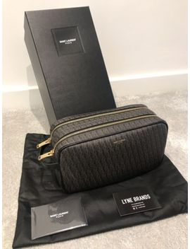 Brand New Saint Laurent Toile Brown Monogram Wash Bag With Box   Rrp £380 by Saint Laurent