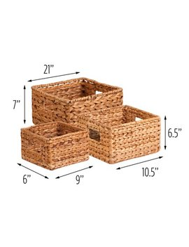 Honey Can Do Durable Nesting Water Hyacinth Baskets, Brown (Set Of 3) by Honey Can Do