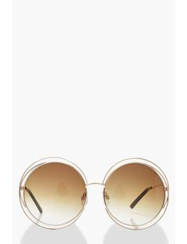 Cut Out Frame Round Sunglasses & Case by Boohoo