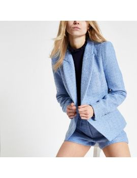Light Blue Boucle Cropped Blazer by River Island