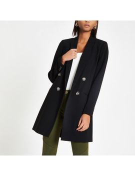 Black Double Breasted Long Blazer by River Island