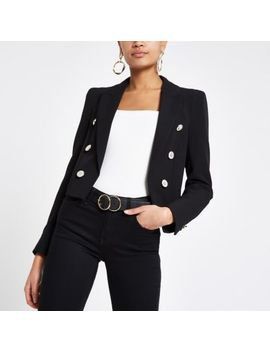 Black Button Front Cropped Blazer by River Island