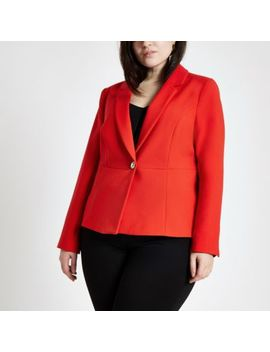 Plus Red Long Sleeve Blazer by River Island