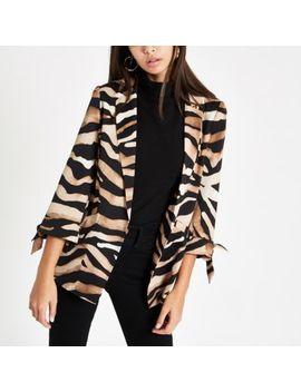 Brown Zebra Print Tie Sleeve Blazer by River Island