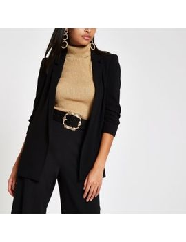 Black Ruched Button Sleeve Blazer by River Island