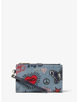 Adele Embroidered Denim Smartphone Wallet by Michael Michael Kors