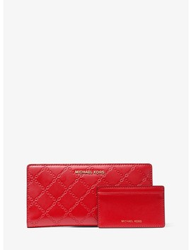 Large Chain Embossed Leather Slim Wallet by Michael Michael Kors