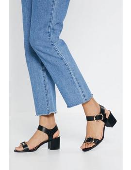 Pu Double Buckle Block Heel Sandals by Nasty Gal