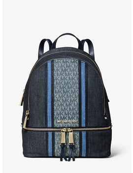 Rhea Medium Denim Logo Backpack by Michael Michael Kors