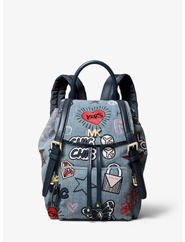 Beacon Small Embroidered Denim Backpack by Michael Michael Kors