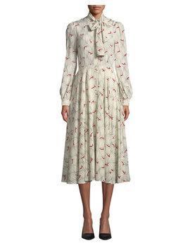Bow Neck Hat Print Silk Midi Dress by Co
