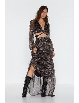 Cut Out Floral L/S Maxi Dress by Nasty Gal