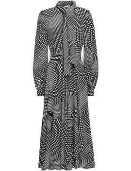 Polka Dot Silk Crepe De Chine Midi Shirt Dress by Co