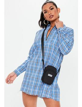 Petite Blue Oversized Zip Front Shirt Dress by Missguided