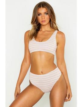 Metallic Stripe High Waist Bikini by Boohoo