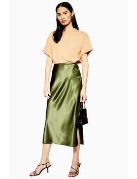 Split Satin Bias Midi Skirt by Topshop