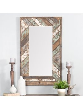 Brogan Distressed Wood Slat Wall Mirror by Aspire Home Accents