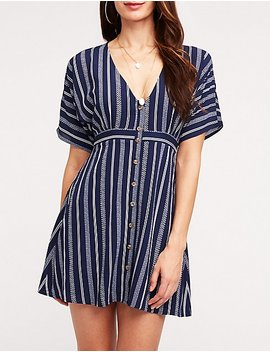 Striped Button Up Dolman Dress by Charlotte Russe