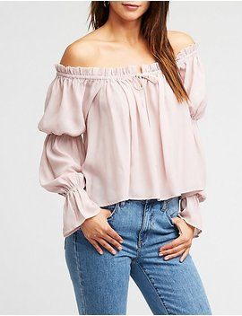 Off The Shoulder Self Tie Blouse by Charlotte Russe