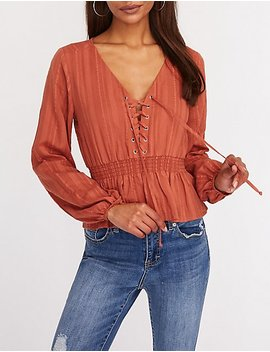 Lace Up Smocked Top by Charlotte Russe