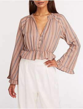 Striped Button Up Peplum Top by Charlotte Russe