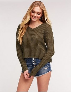 Open Knit Pullover Sweatshirt by Charlotte Russe