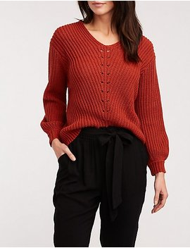 V Neck Ribbed Pullover Sweater by Charlotte Russe