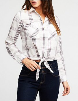 Plaid Front Tie Button Up Shirt by Charlotte Russe