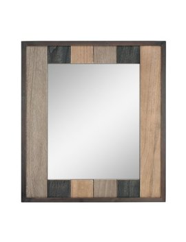Stonebriar Rectangle Natural Wood Plank Hanging Wall Mirror With Attached Mounting Brackets by Stonebriar Collection