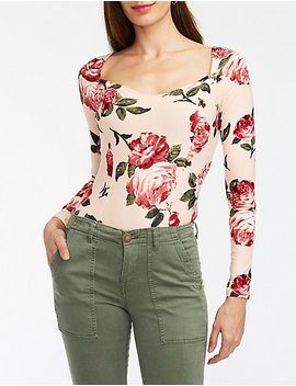 Floral Sweetheart Neck Bodysuit by Charlotte Russe