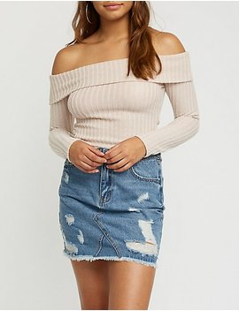 Off The Shoulder Ribbed Top by Charlotte Russe