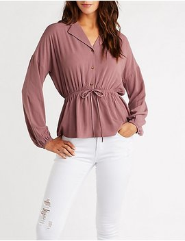 Cinched Tie Waist Button Down by Charlotte Russe