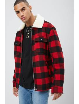 Plaid Flannel Zip Up Jacket by Forever 21