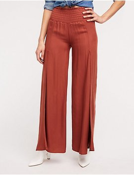 Smocked Split Leg Palazzo Pants by Charlotte Russe