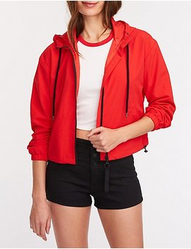 Nylon Hooded Track Jacket by Charlotte Russe